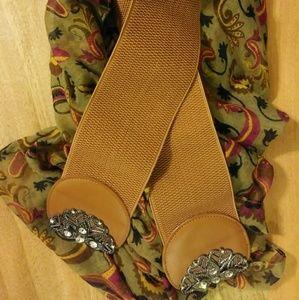 Brown Elastic Waist Belt